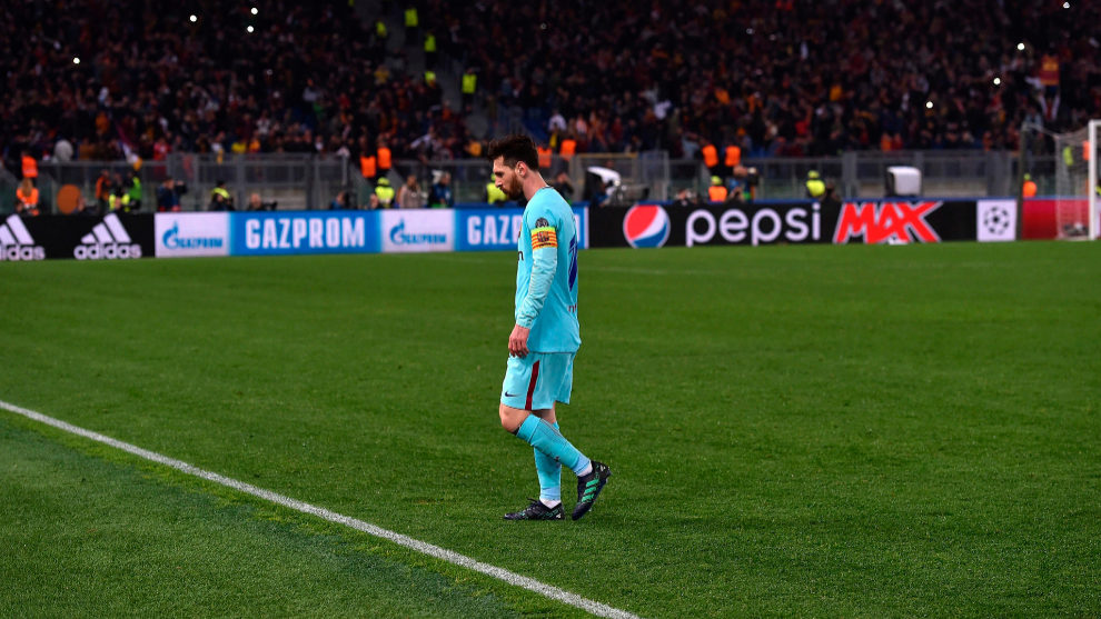 Leo Messi al finalizar el encuentro frente a la Roma