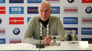 Anders Besseberg, en una rueda de prensa en la Copa Mundial en Oberhof
