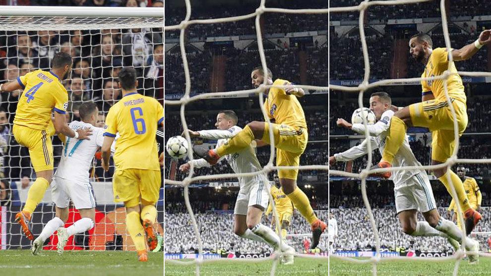 Imágenes del penalti de Benatia en el Real Madrid Juventus