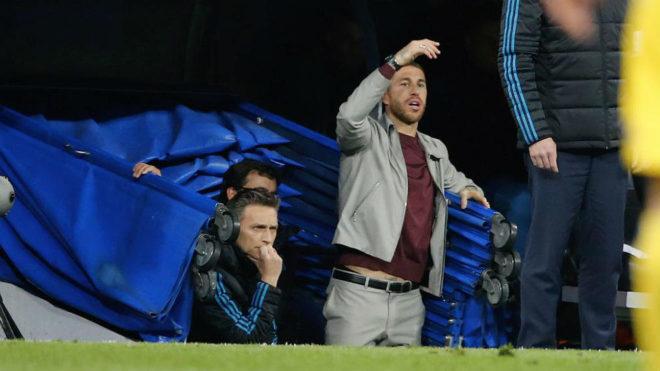 Ramos, ayer, en el túnel de vestuarios del Bernabéu