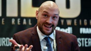 Tyson Fury, durante la rueda de prensa en la que anunció su regreso...