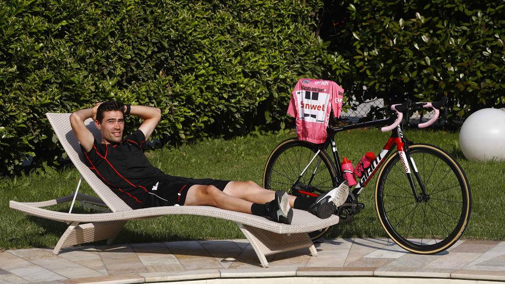 Tom Dumoulin, en el día de descanso del Giro 2017, previo a su...