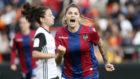 Natalia Ramos celebra un gol en el último derbi valenciano.
