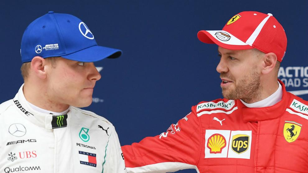 Sebastian Vettel, junto con Valtteri Bottas