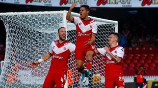 Villava celebra un gol en el Luis 'Pirata' Fuente