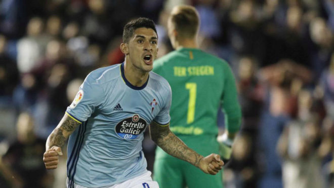 Tucu Hernández celebra un gol ante Ter Stegen.