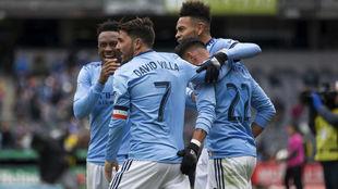 Los jugadores del New York City celebrando un gol