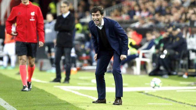 Marcelino, durante un partido en Mestalla.
