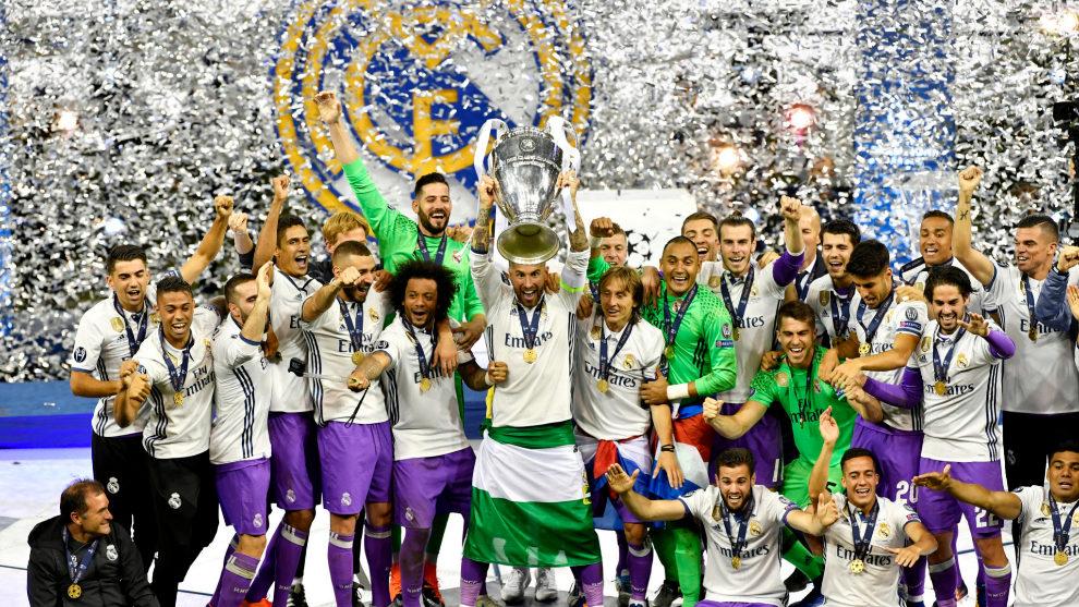 El Real Madrid celebra la duodécima Copa de Europa.