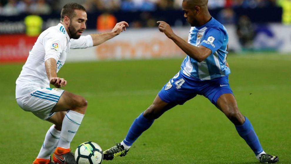 Carvajal, en el partido ante el Málaga.