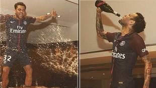 El gran desparrame de Dani Alves en la fiesta más húmeda del PSG...