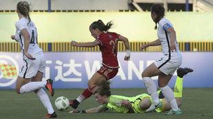 Claudia Pina durante un partido en el pasado Mundial Sub'17 en...