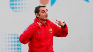 Valverde durante un entrenamiento del Barcelona.