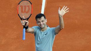 Grigor Dimitrov celebra su victoria.