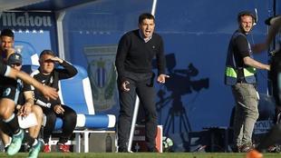 Garitano, durante un partido en Butarque.