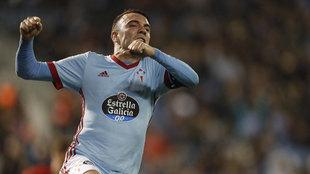 Iago Aspas celebra el gol ante el Barcelona.