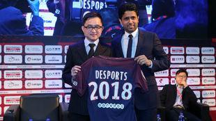 Al Khelaifi y Jiang Lizhang, en el Soccerex, congreso de fútbol que...