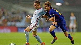Iago Aspas con Sergi Roberto durante el pasado partido de l ajornada