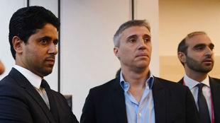 Al Khelaifi, con Hernán Crespo en Soccerex.