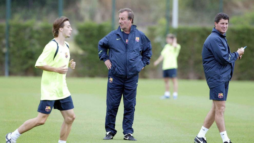 Quique Costas durante un entrenamiento con el FC Barcelona