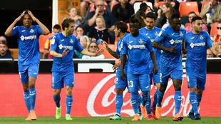 Jugadores del Getafe celebrando un gol ante el Valencia