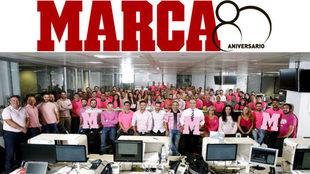 El 19 de octubre la redacción de MARCA se vistió de rosa con motivo...