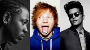 Kendrick Lamar, Ed Sheeran y Bruno Mars parten como favoritos para los...