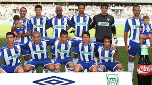 Once de un partido del Málaga ante el Salamanca en 2008.