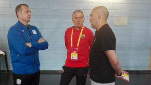 Jesús Velasco, Andreu Plaza y Javi Rodríguez charlan antes de la...