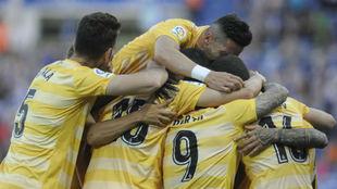 El Girona celebra el gol de Aleix
