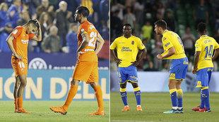 Desolación de los jugadores del Málaga y Las Palmas