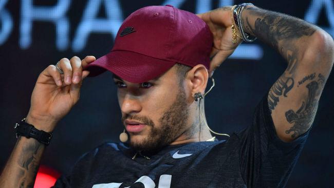 Neymar, durante un acto publicitario en Sao Paulo