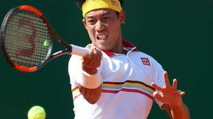 Derecha de Kei Nishikori en su partido frente a Marin Cilic.