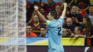Ortiz celebra el primero de sus goles.