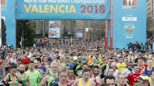 Participantes en el maratón de Valencia