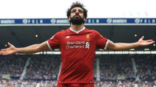 Salah celebra su tanto.