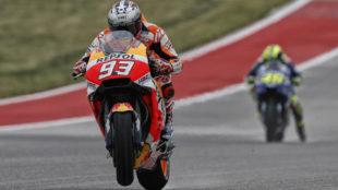 Márquez, delante de Rossi en Austin