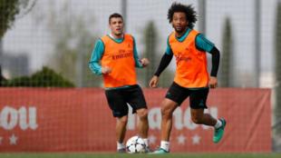 Marcelo y Kovacic, en el entrenamiento de este sábado en Valdebebas