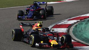 RB14 de Verstappen, delante del Toro Rosso de Hartley