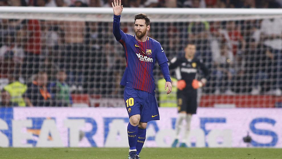 Messi tras marcar el segundo gol del Barcelona.