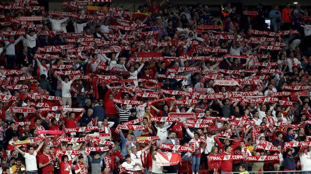 La afición del Sevilla en el Wanda Metropolitano