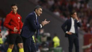Valverde, en el área técnica del Wanda.