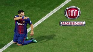 Luis Suárez celebra uno de los dos goles conseguidos en la final de...
