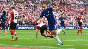 Morata celebra su gol al Southampton.