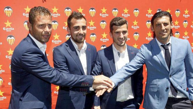 Curro Torres, Alcácer, Gayá y Angulo en la presentación del...