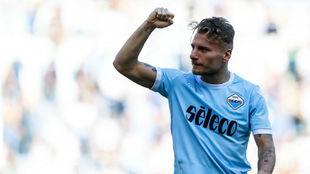 Immobile celebra la victoria del Lazio