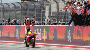 Marc Márquez, entrando en meta victorioso en Austin.