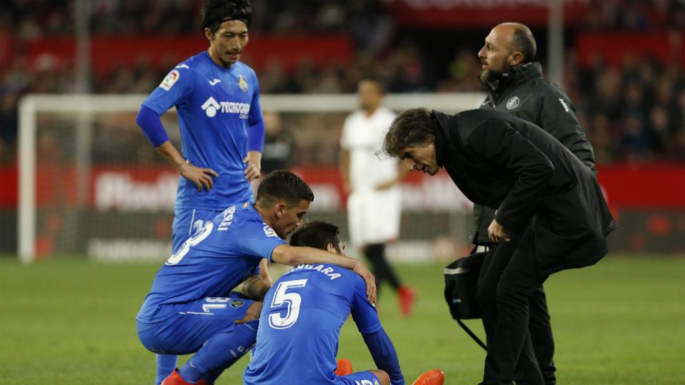 Bergara en el momento de su lesión en Sevilla