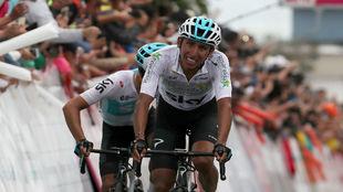 Egan Bernal en la etapa final de la Colombia Oro y Paz que ganó en...