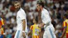 Benzema y Bale, en un partido de Liga.